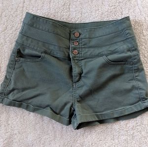 High-Waisted Button-Front Olive Green Shorts